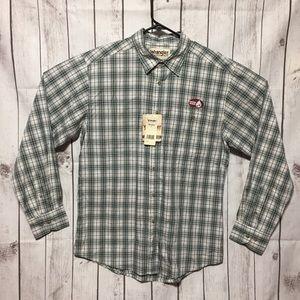 Wrangler Rugged Wear Button Front Shirt L Green